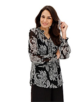 Mono Print Shirred Neck Blouse