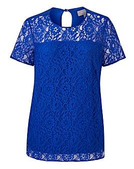 Cobalt Lace Front Jersey Back Blouse