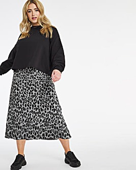 Jacquard Jersey Pull On Midi Skirt