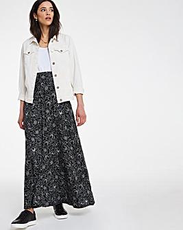 Mono Floral Print Jersey Maxi Skirt