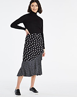 Spot Mock Wrap Ruffle Midi Skirt
