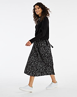Mono Print Full Wrap Midi Skirt