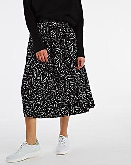 Mono Print Full Wrap Midi Skirt