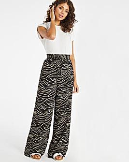 Zebra Print Super Wide Linen Mix Trousers