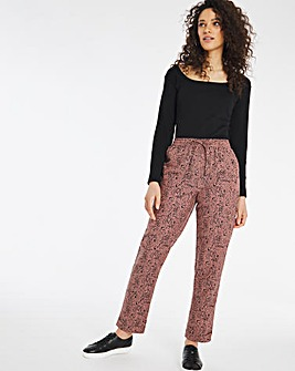 Leopard Print Linen Mix Joggers Regular