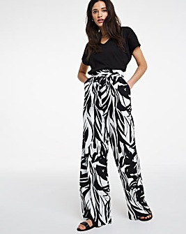 Mono Print Super Wide Linen Mix Trousers