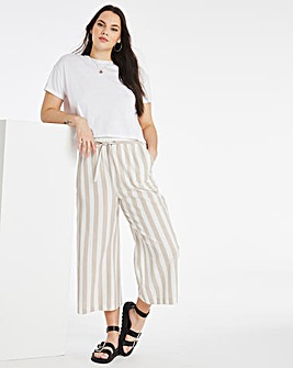 Stripe Linen Mix Wide Culottes