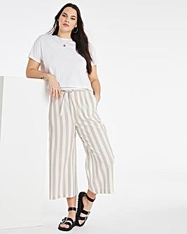 Stripe Linen Mix Wide Culottes