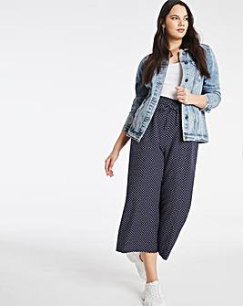 Print Linen Mix Wide Leg Culottes