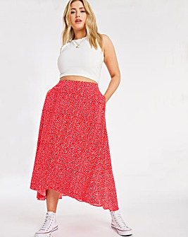 Heart Print Fluted Hem Midi Skirt