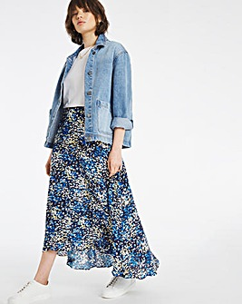 Print Fluted Hem Midi Skirt