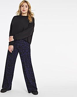 Animal Print Wide Leg Jersey Trousers