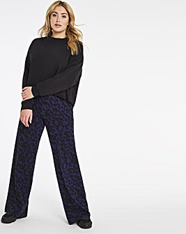 Animal Print Wide Leg Jersey Trousers Long