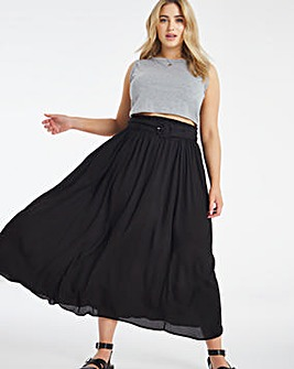 Belted Full Midaxi Skirt