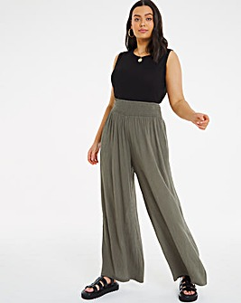 Crinkle Shirred Waist Wide Trousers Regular