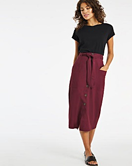 Washed Linen Mix Belted Midi Skirt