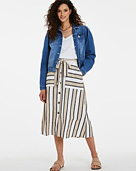 Stripe Belted Linen Mix Midi Skirt
