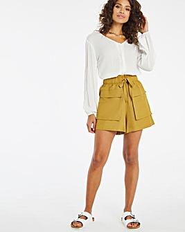 Linen Mix Patch Pocket Utility Shorts