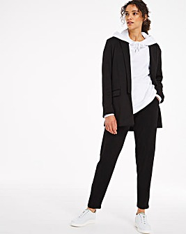 Tie Waist Jersey Tapered Trousers