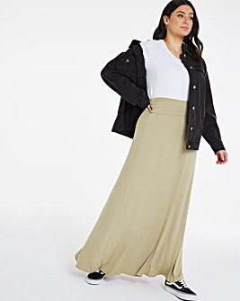 Washed Olive Stretch Maxi Skirt