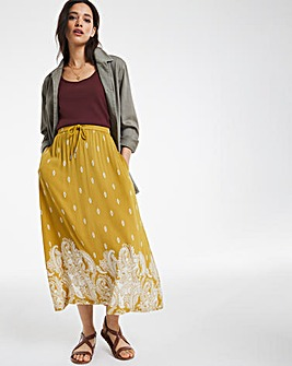 Linen Border Print Midi Skirt