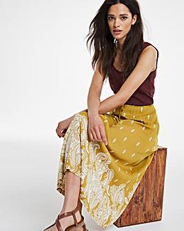 Crinkle Border Print Midi Skirt