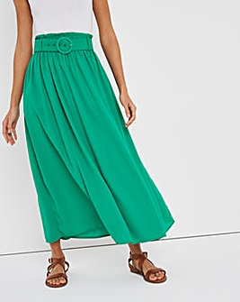Belted Full Midax Skirt
