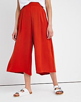 Herringbone Twill Crop Wide Leg Trouser