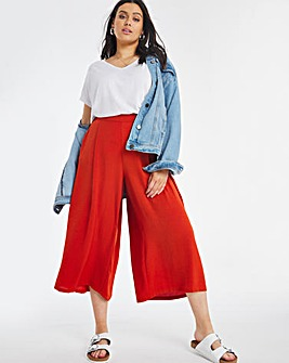 Herringbone Twill Crop Wide Leg Trouser
