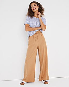 Easy Care Linen Wide Leg Trousers