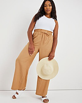 Super Wide Easy Care Linen Mix Trousers