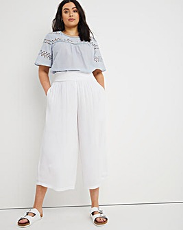 Lined Crinkle Shirred Waist Culottes