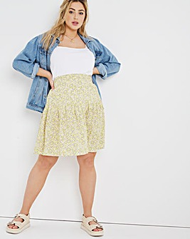 Ditsy Print Tiered Short Length Skirt