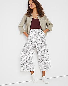 Ivory Spot Print Culotte Trousers