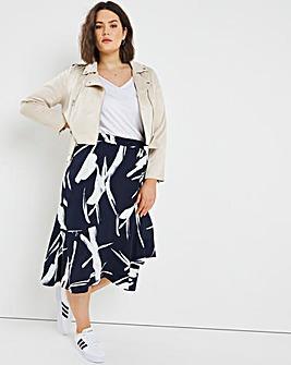 Navy Print Tie Waist Skirt