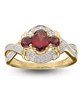 9 Carat Gold Garnet And Diamond Cross Over Dress Ring