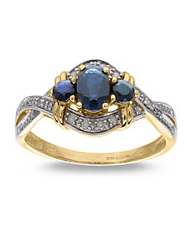 9 Carat Gold Sapphire And Diamond Cross Over Dress Ring