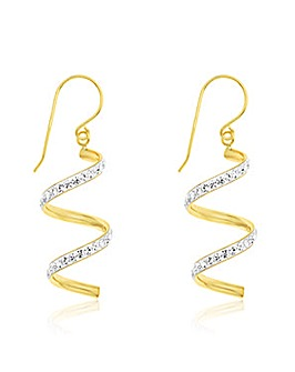 Crystal Glitz 9 Carat Swirl Drop Crystal Earrings
