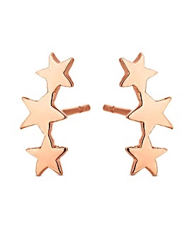 Simply Silver Rose Gold Star Earrings