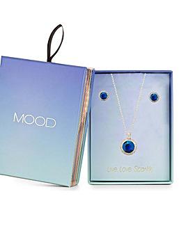 Mood Gold Blue Crystal Pear Halo Set
