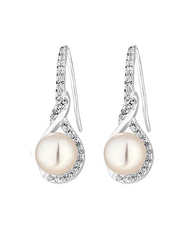 Sterling Silver 925 Freshwater Pearl and Cubic Zirconia Twist Infinity Earrings