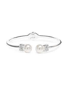 Silver Plated Pearl And Pave Open Bangle