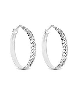 Sterling Silver 925 Herringbone Design Hoop Earrings