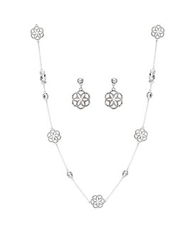Mood Silver Plated Floral Filigree Set