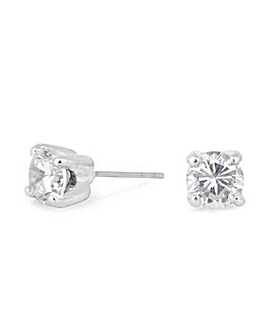 Silver Plated 6mm Cubic Zirconia Round Stud Earrings