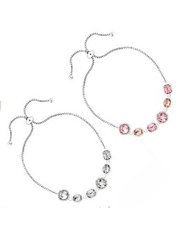 Silver Plated Tonal Pink Toggle Bracelets - Pack of 2