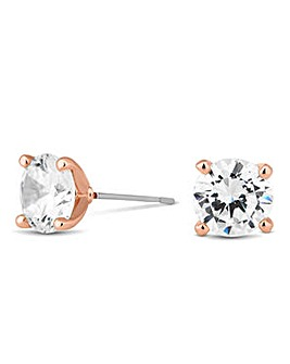 Rose Gold Plated 8mm Round Cubic Zirconia Stud Earrings