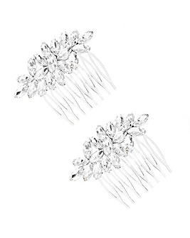 Silver Plated Crystal 2 Pack Combs