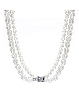 Silver Plated Baroque Pearl 2 Row Necklace