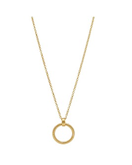 14ct Gold Plated Sterling Silver Textured Open Link Pendant Necklace